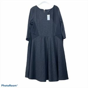 Lane Bryant black stripe 3/4 sleeve dress midi